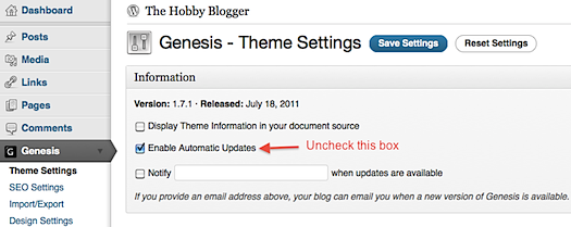 Genesis Theme Settings - Disabling Automatic Updates