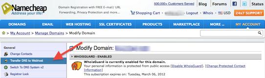 Namecheap: Modify Domain