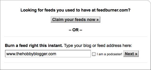 Feedburner Homepage