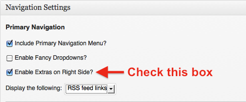 Enabling RSS feed links in Genesis navigation bar