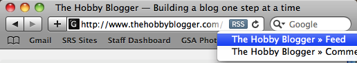 RSS Content Button in Safari's Address Bar