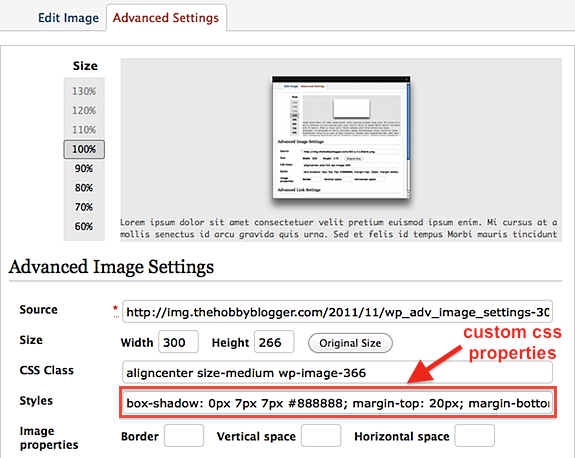 Adding Drop Shadow to WordPress Advanced Image Settings Tab