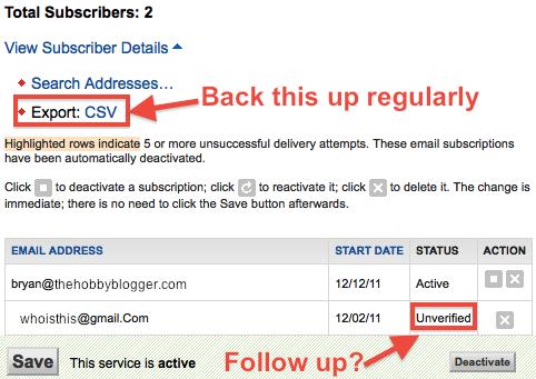 Feedburner Email Subscriber List