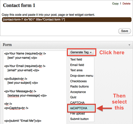 Generate reCAPTCHA Tag for Contact Form 7