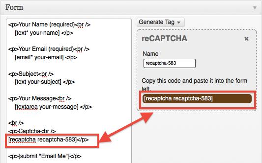Contact Form 7 reCAPTCHA Tag