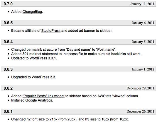 Changeblog Screenshot