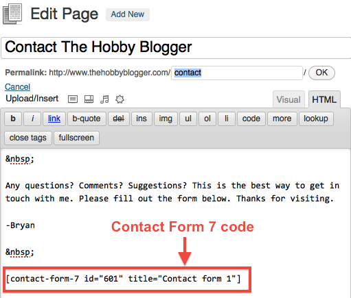 Insert Contact Form 7 In WordPress