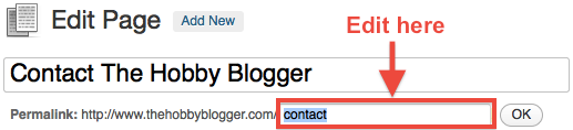 WordPress Contact Page Slug