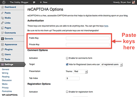 WP-reCAPTCHA Settings
