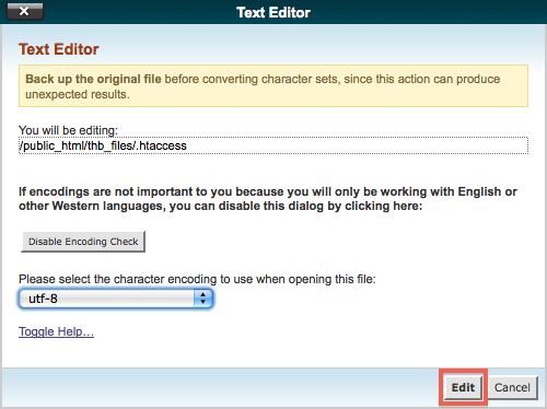 cPanel Text Editor Encoding Check