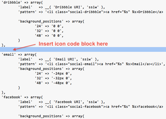 Simple Social Icons Insert Code Block