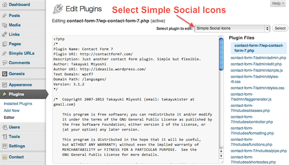 WordPress Plugin Editor Plugin Selection Menu