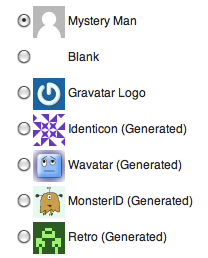 WordPress Default Avatar Choices
