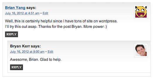Screenshot of Comments Gradient