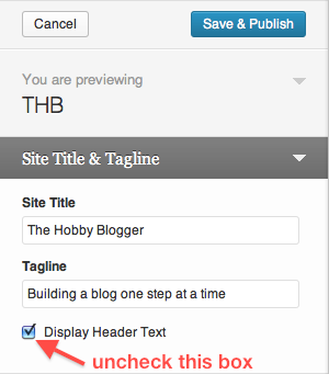 WordPress Customize Theme Site Title Tagline