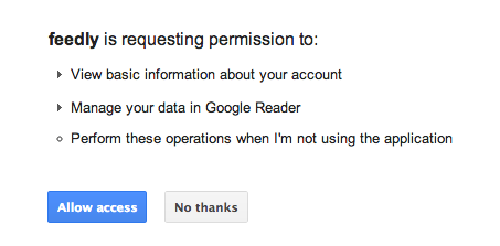Feedly Permission to Access Google Profile Info